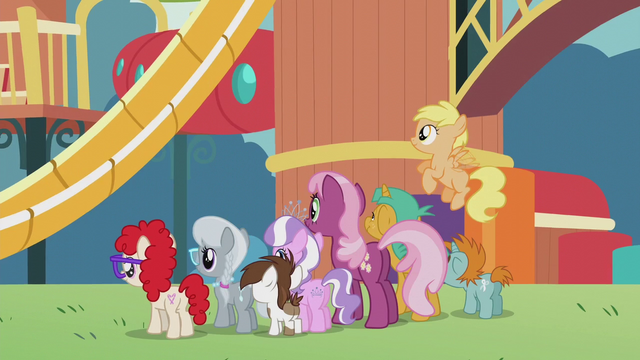 File:Cheerilee and foals looking at rebuilt playground S5E18.png