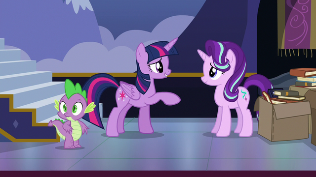 File:Spike notices something as Twilight compliments Starlight S6E25.png