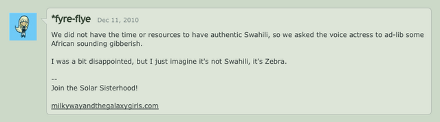 File:Comment by Lauren Faust describing the language Zecora speaks.png