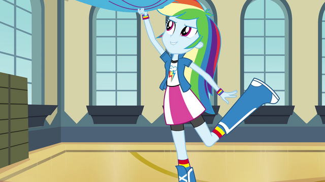 File:Rainbow Dash pulling down rainbow drapery EG2.png