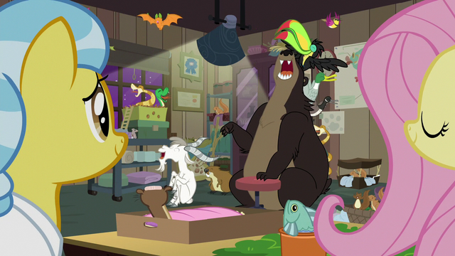 File:Clinic animals cheering for Fluttershy S7E5.png