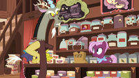 Discord gets offended at tea salespony S7E12