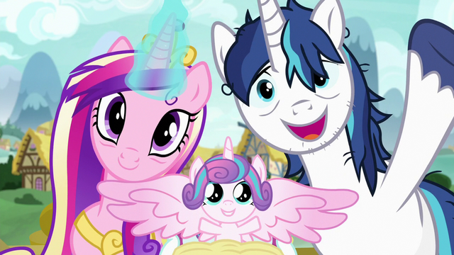 File:Princess Cadance, Flurry Heart, and Shining Armor S7E3.png