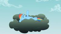 Rainbow Dash on the thundercloud S2E08
