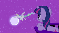 Twilight Sparkle looking at Celestia flying S2E03