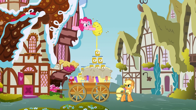 File:Pinkie Pie giving honey to Applejack 1 S3E8.png