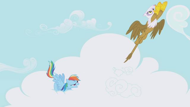 File:Rainbow Dash and Gilda take off S1E05.png