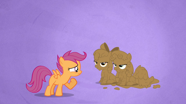 File:Scootaloo Stares at the Mud-covered Apple Bloom and Sweetie Belle S02E17.png