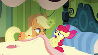 AJ pulls a blanket onto a worried Apple Bloom S5E04