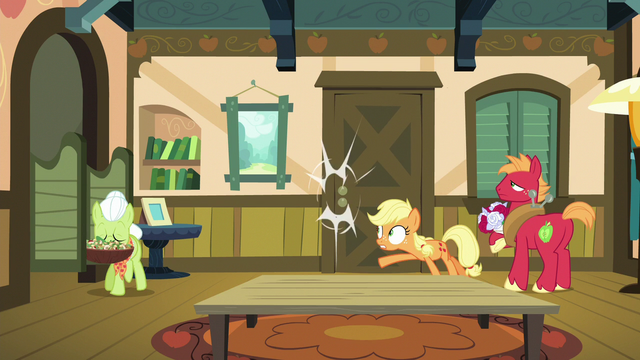 File:Applejack slams door in Filthy and Spoiled's faces S6E23.png