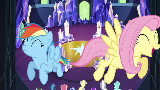 File:Rainbow and Fluttershy fly through the castle S4E26.png
