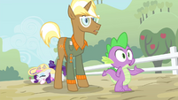 Trenderhoof and Spike looking S4E13
