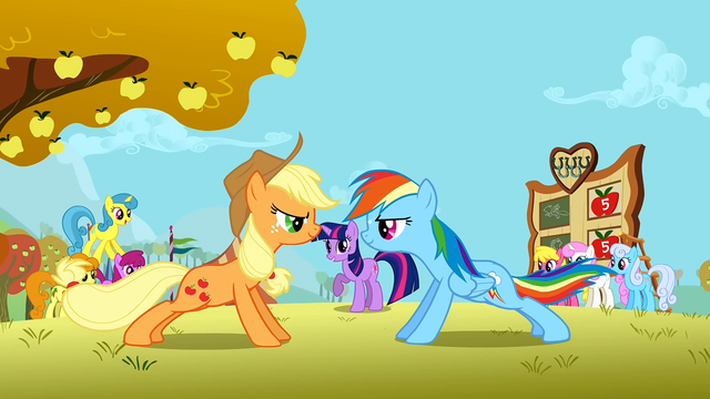 File:Applejack and Rainbow Dash doing push ups S1E13.png