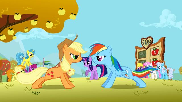 File:Applejack and Rainbow Dash doing push ups S1E13.png