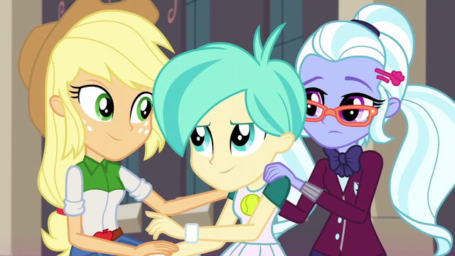 File:Applejack with Tennis Match and Sugarcoat EG3.png