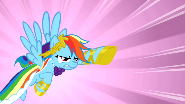 File:Rainbow Dash charging towards the falling pie S1E26.png