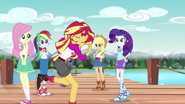 File:Sunset Shimmer about to twirl on the dock EG4.png