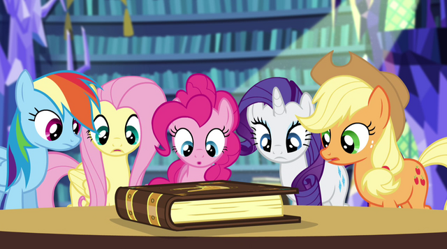 File:Twilight's friends looking at the storybook EG2.png