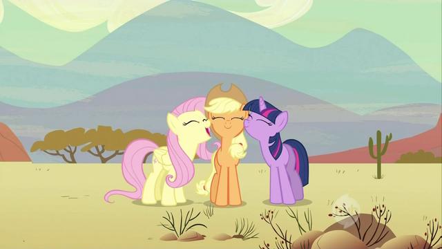 File:Fluttershy and Twilight nuzzling Applejack S2E14.png