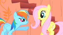 Rainbow tells Fluttershy to improve her cheering S1E16