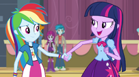 Twilight holding Rainbow Dash's hand EG2