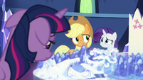 Applejack and Rarity feel sorry for Twilight S5E16