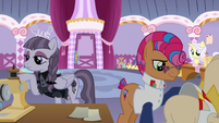 Contest ponies still preparing for the fashion show S7E9