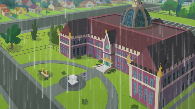 File:Canterlot High School exterior during rainfall SS6.png