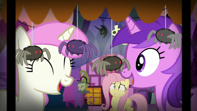 File:Twinkleshine and Amethyst Star giggling at the fake spiders S5E21.png