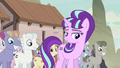 Starlight and villagers listening to Party Favor S5E2.png