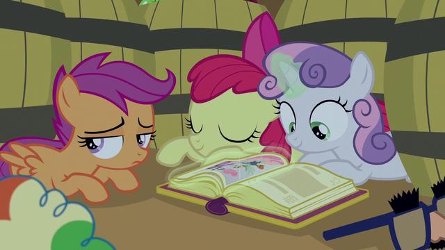 File:Cutie Mark Crusaders hiding among apple barrels S7E8.png
