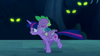 Twilight and Spike running; Timberwolves' glowing eyes S5E26