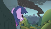 Twilight looks out toward the smoke S1E07