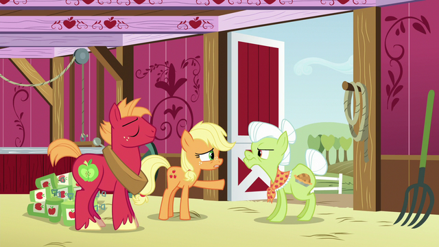 "File:Applejack ""you gave zap apple jam to Filthy's grandpappy"" S6E23.png"