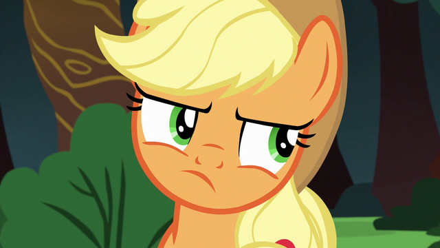 File:Applejack rolls her eyes at Rainbow Dash S6E18.png
