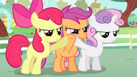 Cutie Mark Crusaders three-way hoof-bump S4E05