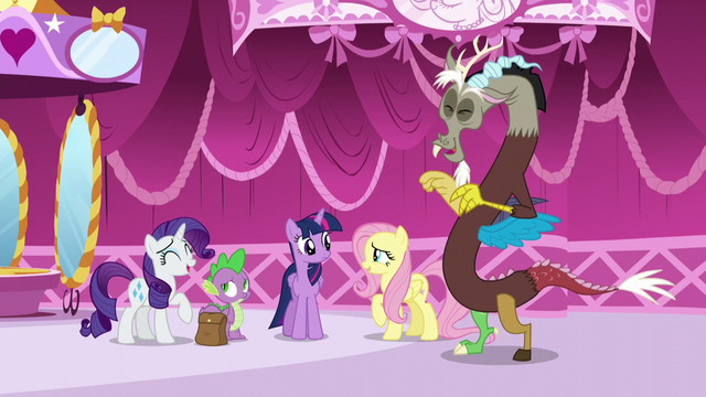 File:Rarity, Fluttershy, and Discord laughing S5E22.png