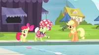 AJ, Apple Bloom and Granny hear Flim and Flam S4E20