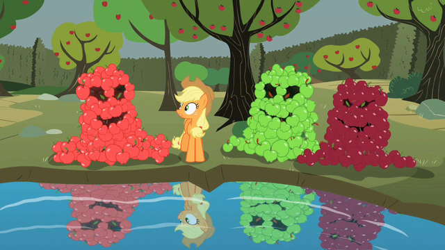 File:Apple piles encouraging Applejack to look into pool S2E01.png