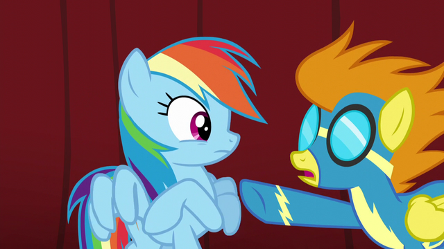 "File:Blaze ""I did see you and Spitfire leave the dinner together"" S5E15.png"