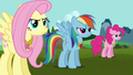 Fluttershy, Rainbow, and Pinkie wearing Elements S03E10.png