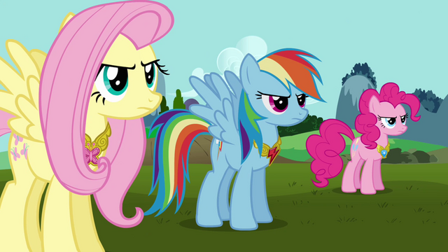 File:Fluttershy, Rainbow, and Pinkie wearing Elements S03E10.png