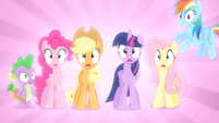Main ponies and Spike shocked S04E08