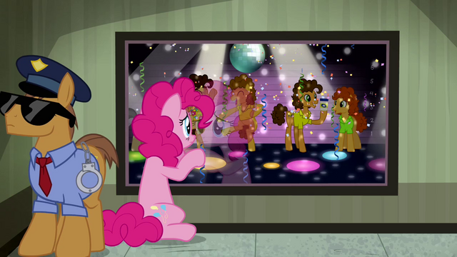 File:Pinkie Pie looking at Cheese in a police lineup S4E12.png