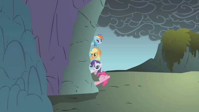 File:Rainbow Dash, Pinkie Pie, Applejack and Rarity hanging outside of the cave S1E7.png