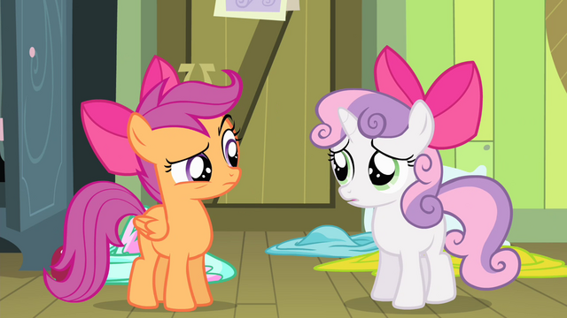 File:Scootaloo and Sweetie looking at each other S4E17.png