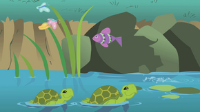 Turtles swimming in a stream S1E11.png