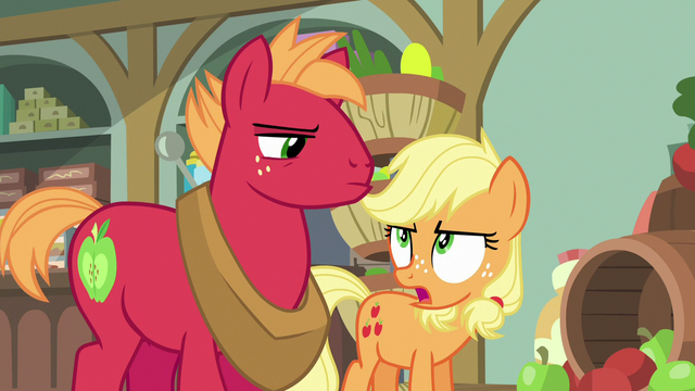 """File:Young Applejack """"what Big Mac means is"""" S6E23.png"""