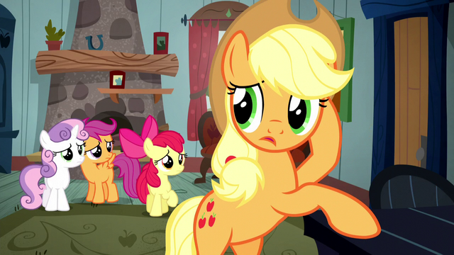 File:Applejack wondering about the Crusaders S5E6.png