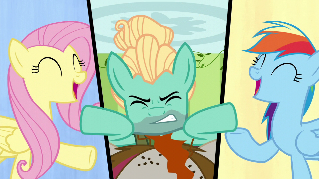 Fluttershy and Rainbow sing while Zephyr struggles S6E11.png
